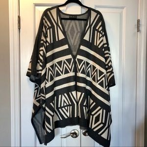 Knit Poncho/Cape Jacket charcoal and creme